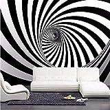 Guyuell Kundenspezifische Moderne Abstrakte Künstlerische Wandbild-Tapete-Schwarzweiss-Strudel-Linie Wohnzimmer-Stroh-Vlies-Wand-Papier Für Wände-120Cmx100Cm