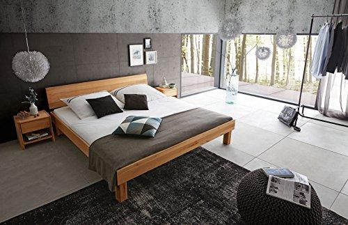 guenstiges doppelbett SAM Massiv-Holzbett 200x200 cm Columbus, Kernbuche natur, geschlossenes Kopfteil, 100% FSC®-zertifiziert