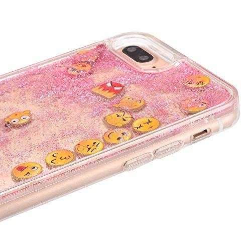 Noctilucent Coque en Silicone Souple pour Apple iPhone 6 / 6s 4.7 pouces - Aohro 3D Unique Emoji Mode Transparente Liquide Étui Housse de Protection Back Case Cover - Argent Rose - Souple Coque