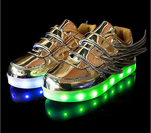 Fortuning's JDS Unisex Lackleder Flügel Art blinkende Turnschuhe Flausch USB aufladende beschuhende Schuhe LED leuchtende Schuhe Gold