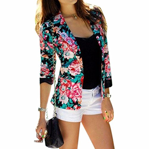 Fashion flower printed flower pattern short suit jacket long sleeve overcoat