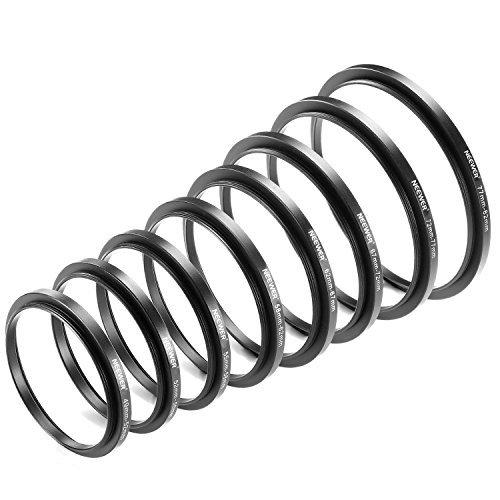 Neewer Set 8 Anelli Adattatori Step up Realizzati Alluminio Anodizzato Include 49 52 52 55 55 58 58 62 62 67 67 72 72 77 77 82