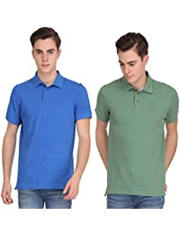 Smokestack Solid Men's Polo Neck Green, Dark Blue T-Shirt (Pack Of 2)