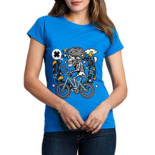 C655WCNTSB Damen T-Shirt Skull Biker Bikes Racing Team Club Shop Born to Ride Pedal Pusher Full Speed Legend Classic(X-Large,Sapphire Blue) -