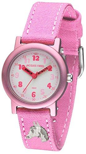 Jacques Farel Öko Kinderuhr mit Bio-Baumwolle Mädchen Pferd rosa / pink ORG 8821