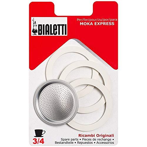 Bialetti Moka Express Break dama mini express,Confezione 3 guarnizioni e 1 filtro per caffettiera 3 tazze