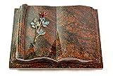 MEMORUM Grabmale Grabbuch, Grabplatte, Grabstein, Grabkissen, Urnengrabstein, Liegegrabstein Modell Antique 40 x 30 x 8-9 cm Aruba-Granit, poliert inkl. Gravur (Bronze-Color-Ornament Rose 7)