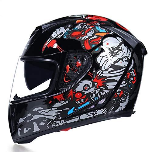 Story of life Motocross Helme Männer Motorrad-Sturzhelm Off Road Motorrad Integralhelm MTB DH Racing Moto Cross Helm,Clear,XL