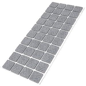 Adsamm® | 40 x Filzgleiter | 25x25 mm | Grau | quadratisch | 3.5 mm starke selbstklebende Filz-Möbelgleiter in Top-Qualität