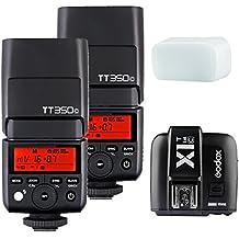 Godox 2 Pack Mini TT350C TTL Hss 2.4GHz Flash with X1T-C Flash Trigger Transmitter for Canon Cameras,5D Mark III 80D 7D 760D 60D 600D 30D 100D 1100D Digital X etc