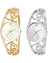 Xforia Girls Watch Golden & Silver Metal Premium Quality Analog Watches For Women Pack Of 2