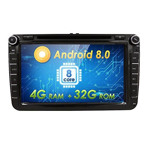 20,3 cm Octa-Core Android 8.0 auto radio doppio DIN stereo per VW Volkswagen Golf Passat Polo Tiguan Jetta Scirocco Skoda Seat con lettore DVD multimediale sistema supporto Steering Wheel Control