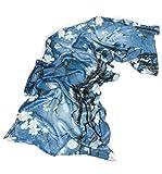 Prettystern - 180cm Langer Chinesische Malerei Pinsel Freihand Zeichnung Kunstdrucke Seidenschal - Vögel Magnolie Blau Z02