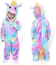 MMTX Unicornio Onesies Pijamas Unisexo Niños, Franela Animales Cosplay Disfraz Halloween Navidad Ropa de Dormi