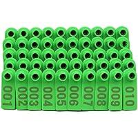 M.Z.A - Etiquetas de plástico para Orejas de Ganado, diseño de Oveja con número 001-100