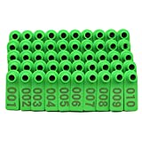 M.Z.A 100PCS Sheep Ear Tags Numbered Ear Tag for Goats Sheep Pigs Hogs Cows Cattle Calf Livestock Ear Tag (Green)