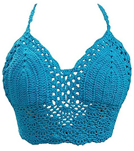 Andy's Share, Damen sexy Ungepolsterte gehäkelte Bralette, Bustier BH Crop Tank Tops (Blau) (Bikini Crochet Top)