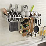 Crea più spazio Cremagliera della cucina dell'acciaio inossidabile con il set di hardware della guardavia fissazione del piatto del pendente dell'hardware di stoccaggio della cucina del supporto del c