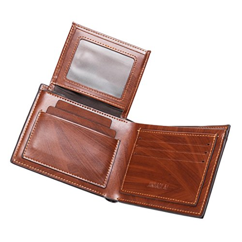 Geldbörsen Herren | PU-Leder Geldbörse | Wallet | Portemonnaie | Brieftasche | Portmonee | Geldbeutel | Vintage Geldsack | Kartenhalter | Kartenetui | Geldklammer von JINBAOLAI (Kurz) Kurz