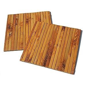2er Set Quadrat Bambus Tischsets, Platzsets, Handgefertigt Platzdeckchen, umweltfreundlich und hitzebeständig für Dekoration und Schutz, 20x20cm, dunkle natürliche Farbe