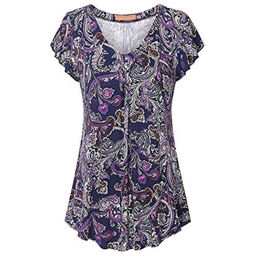 OverDose Damen Sommer Bluse V-Ausschnitt Frühling Mode Kausal Frauen Crewneck Shirts Floral Kurzarm Ausgestelltes Hem Tunika Tops Freizeit Oberteile Tees T-Shirt (C-Violett,S)