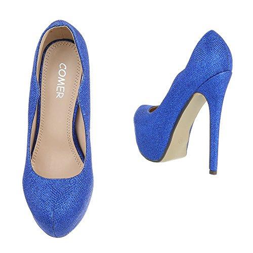 Scarpe da donna con tacco, 28003 Blau AX-2-1