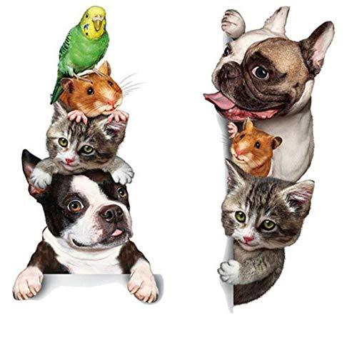 SMCLY 3D Nette Haustiere Stack Katze Hund Papageien Hamster Aufkleber Kinderzimmer Schlafzimmer Wand Dekoration PVC Wandaufkleber -
