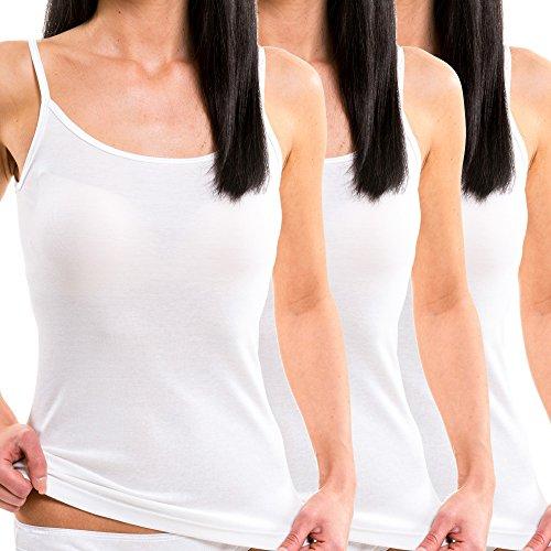 HERMKO 17560 3er Pack Damen Trägerhemd aus Softer Baumwolle/Modal, Farbe:weiß, Größe:40/42 (M) - Modal-unterhemd