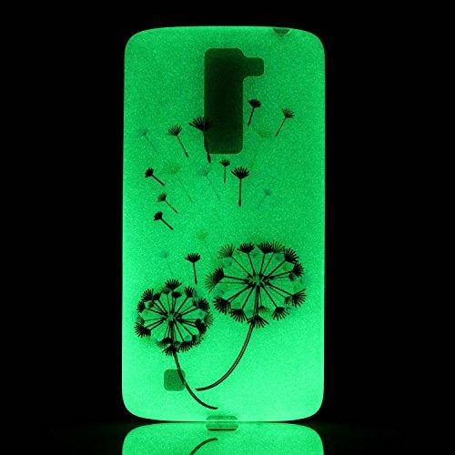 CaseHome LG K8 Luminous Hülle (Mit Frie Displayschutzfolie) Leuchtende Silikone Rückhülle Für iPhone 6 6s Plus 5.5 Zoll Zoll Silikon Etui Handy Hülle Weiche Transparente Luminous TPU Back Case Tasche  Bunte Löwenzahn