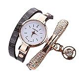 Mode Damen Uhren Leder Strass Analog Quarz schlanker Gürtel Wickeluhr Diamant Anhänger sockenuhr Uhr Groveerble