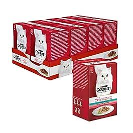 PURINA GOURMET MON PETIT Umido Gatto Invitanti Ricette con Tonno, Salmone e Trota – 48 buste da 50g ciascuna (8 confezioni da 6x50g)