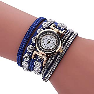 Ainstsk Women's Rhinestone Quartz Watches Fashion Lady Wrist Watch Casual Table Incense Two Round Winding Bracelet Watch Round Dial Case Comfortable PU Leather Wristwatch(Blue)