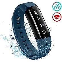 Pulsera Actividad Mpow Impermeable IP68 Podómetro Inteligente Desmontable Fitness Monitor de Ritmo Cardiaco Pasos Calorías Rastreador del Sueño para Running Natación Bluetooth 4.0 Moviles, Azul