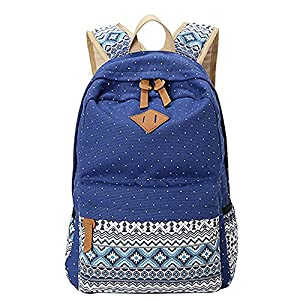 Moollyfox Niña Bohemia punto de impresión Mochila Linda Peso ligero Ordenador portátil bolso de escuela Bolsa de viaje para adolescente