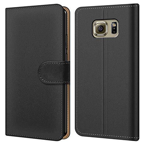 Conie BW34667 Basic Wallet Kompatibel mit Samsung Galaxy S6 Edge, Booklet PU Leder Hülle Tasche mit Kartenfächer und Aufstellfunktion für Galaxy S6 Edge Case Schwarz