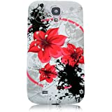 Xtra-Funky Exclusive - Carcasa protectora trasera para Samsung Galaxy S4 i9500/i9505 (silicona), diseño floral con mariposas B18-Red Lily Flowers