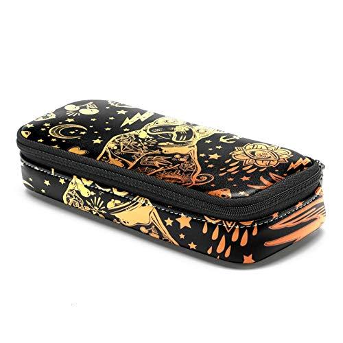 Bennigiry Stifteetui, Vintage-Design, traditionelles Tattoo-Motiv, bedruckt, PU-Leder, große Kapazität, Stifthalter mit Doppelreißverschluss, multifunktionale Kosmetiktasche -