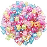 iDream 100-Pcs Alphabet Letter Beads Acrylic for DIY Jewelry Making Loom Band Bracelets (Square, Multicolour Transparent)