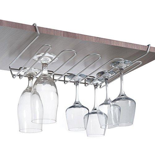 Metaltex MyChristal Weinglashalter Polytherm 38x26x7cm, Beschichtung, grau, 38 x 26 x 7 cm