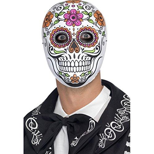 Maske Toten Der Skull Den Tag (Mexikanische Totenmaske Totenkopfmaske La Catrina Sugar Skull Halloween Maske Tag der Toten Halloweenmaske Dia de los Muertos Faschingsmaske Calavera)