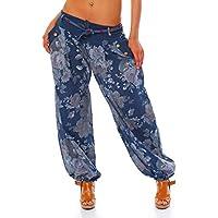 Moda Italy Damen Haremshose Pumphose Ballonhose Pluderhose Yogahose  Aladinhose Harem Sommerhose mit Stoffgürtel Flower-Print 4a4b1197f6