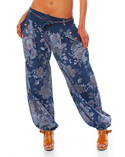 Moda Italy Damen Haremshose Pumphose Ballonhose Pluderhose Yogahose Aladinhose Harem Sommerhose mit Stoffgürtel Flower-Print, One Size Gr.36-42, Jeansblau