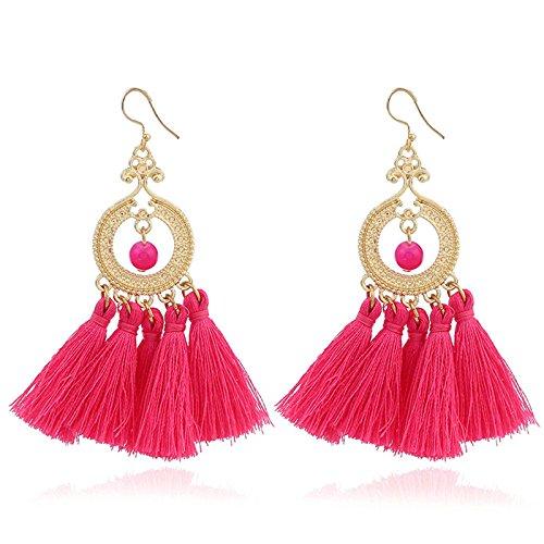 Gnzoe Schmuck Kreis Kugel mit 5 Blumen Quaste Ohrringe Hood Ohrringe für Damen Mädchen Rose Rot