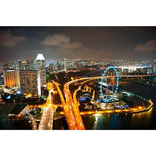Pitaara Box Aerial View of Singapore with Singapore Flyer Peel & Stick Vinyl Wall Sticker 42.6 X 28.3Inch