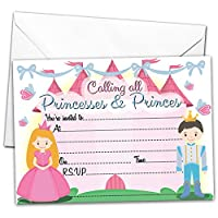 All-Ways Design Pack of 20 GLOSSY Party Invitations Princess and Prince with 20 x Envelopes for Kids Birthday Invites princesses & princes children