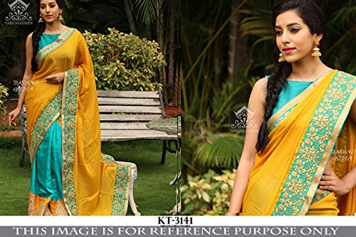 JookarDeal Orange & Sky Blue Color Naylon Net & Georgette Embroidered Party Wear Saree with Blouse Piece-5427SEKT-3141  available at amazon for Rs.1669