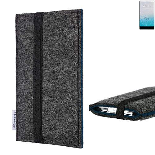flat.design Handyhülle Lagoa für Ulefone F1 | Farbe: anthrazit/blau | Smartphone-Tasche aus Filz | Handy Schutzhülle| Handytasche Made in Germany