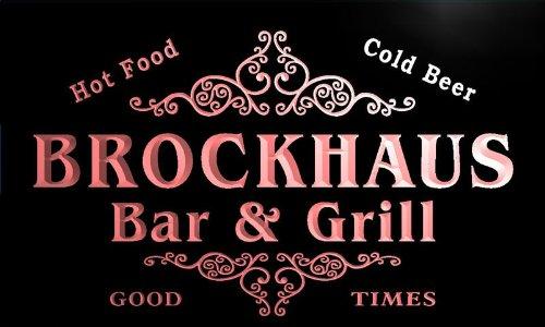 u05555-r BROCKHAUS Family Name Bar & Grill Cold Beer Neon Light Sign Barlicht Neonlicht Lichtwerbung
