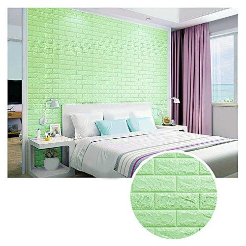 KINLO 10 Stück 3D Wandpaneele Selbstklebend 70x77x1cm Grün Wasserfest Pattern Wallpaper DIY Brick Muster Tapete Wandaufkleber aus hochwertigem PVC für Schlafzimmer Wohnzimmer Küche