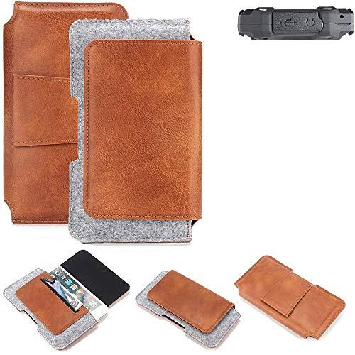 K-S-Trade für simvalley Mobile SPT-210 Gürteltasche Schutz Hülle Gürtel Tasche Schutzhülle Handy Smartphone Tasche Handyhülle PU + Filz, braun (1x)